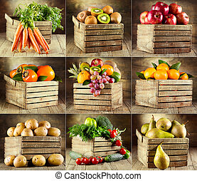 콜라주, 야채, 여러 가지이다, 과일