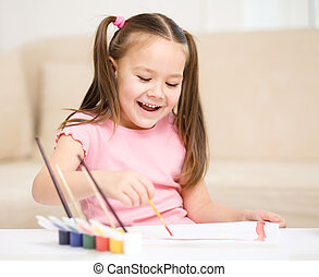 쾌활한, 귀여운, 놀이, 아이, 페인트