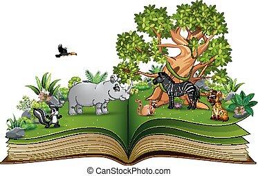 크게, 공원, 나무, 만화, 책, 동물, 억압되어, 열려라, 노는 것