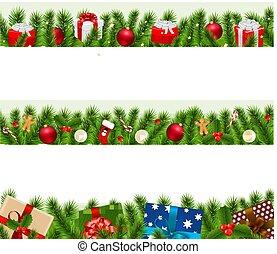 크게, 국경, 세트, 크리스마스