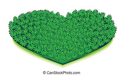 크게, 녹색, 심장