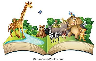 크게, 동물, 많은, 책
