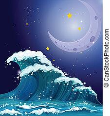 크게, 번쩍이는, 파도, 밝은, 은 주연시킨다, 억압되어, 달