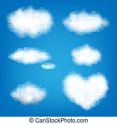 크게, 세트, 구름