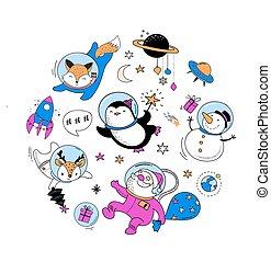 크리스마스, 크리스마스, 겨울, 공간, -, 우주의, 여우, 펭귄, 사슴, santa, 명랑한, 배, 삽화