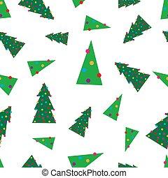 크리스마스, seamless, 패턴, 녹색 나무