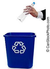 큰 상자, recylce, 손, 물, 둠, 병