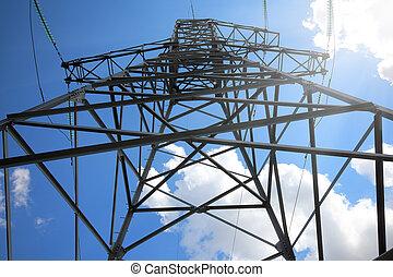 키가 큰, 돛대, 하늘, 전기, 향하여
