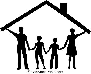 키드 구두, 가족, 집, 위의, 지붕, 억압되어, 가정, 파악