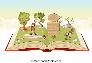 키드 구두, 탐험가, 채비, 책, 열려라, 만화