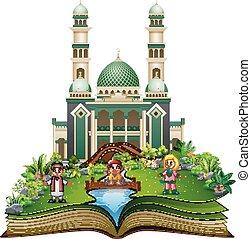 키드 구두, 회교도 회교 사원, 만화, 책, 정면, 열려라, 노는 것, 행복하다