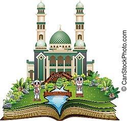 키드 구두, 회교도 회교 사원, 책, 정면, 열려라, 만화, 행복하다