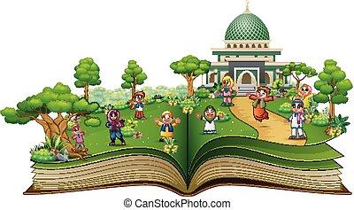 키드 구두, 회교도 회교 사원, 책, 정면, 열려라, 행복하다