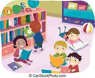 키드 구두, stickman, 독서, 보육원, 시간