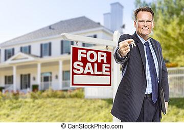 키, 집, 판매, 대리인, 표시, 정면