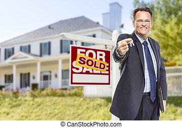 키, 집, 팔린다, 대리인, 표시, 정면
