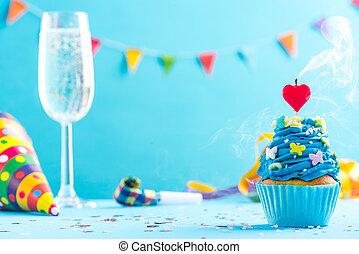 타격, mockup, 위로의, 새로운, 생일, 년, 양초, 또는, 카드
