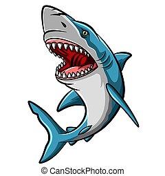 타는 듯한, 배경, 마스코트, 만화, 백색, 상어