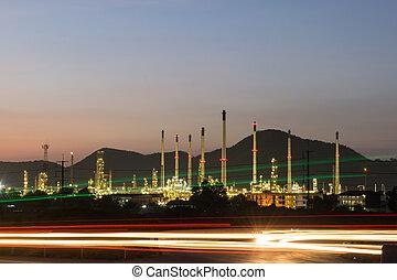 타이, 석유 화학 제품, 역, 저녁, 힘, 산업
