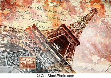 탑, eiffel, 예술, 파리, 떼어내다
