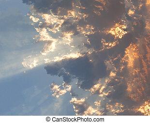 태양 광선, 일몰