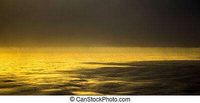 태양, 밝은, 구름, 일몰, 사이의