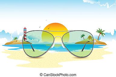 태양, 보이는 상태, 완전히, 바다, 안경