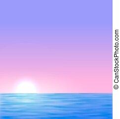 태양, 해돋이, 배경, 바다
