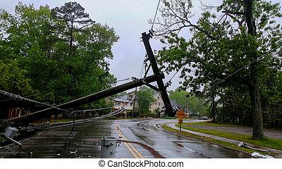 태폭풍, 싹쓸 바람,, 위의, 움직이게 된다, 나무, 길, 극, 은 일렬로 세운다, 가로질러, 후에, 변화물, 힘, 한 번에 까는 알