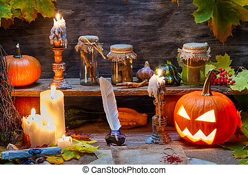 테이블, 호박 halloween, 마녀