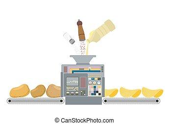 통제, 황금, chips., 소금, pepper., 신선한, 감자, 은 돌n다, 가공되는, 그것, 깊다, 기계, 생산, 벡터, 삽화, 오르는 것, 제작, 버터, 감자, cooks., 패널