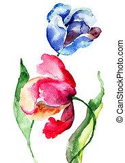 튤립, 그림, 수채화 물감, 꽃
