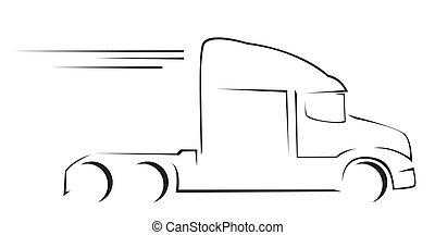 트럭, 삽화, 상징, 벡터