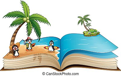 파도타기, 그룹, 열린 책, 바닷가, 만화, 펭귄