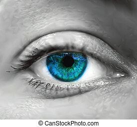 파란 눈, 벡터, macro., 여성