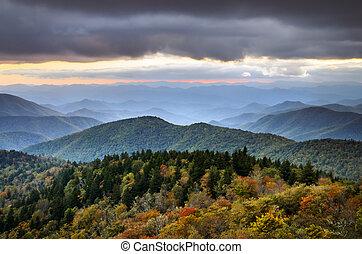 파랑, 가을, 공원도로, 이랑, 산
