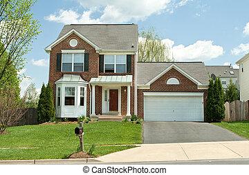 파랑, 가족, 미국, 집, 교외에 있는, 하늘, 단일, 메릴랜드주, 벽돌