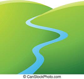 파랑, 강, 녹색의 언덕