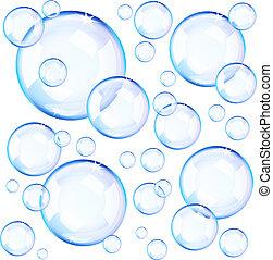 파랑, 거품, 투명한, 비누