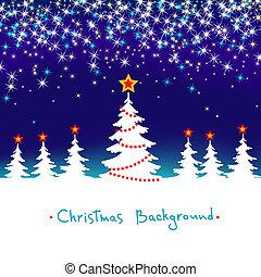 파랑, 계절의, 겨울, 떼어내다, 나무, 배경, 벡터, 숲, 은 주연시킨다, 화이트 크리스마스