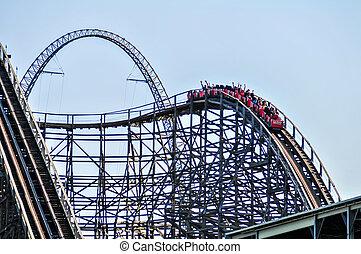 파랑, 공원, rollercoasters, 즐거움, 하늘
