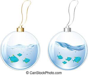파랑, 공, 물, 년, 물고기, 새로운
