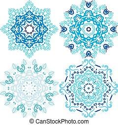 파랑, 귀여운, 겨울, 벡터, 크리스마스, 눈송이