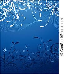 파랑, 꽃의, 배경