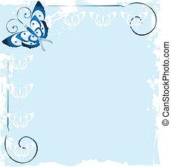 파랑, 나비, 구조, 로고