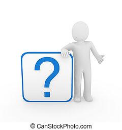 파랑 남자, 질문, 3차원, 표