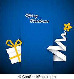 파랑, 단일의, 삽화, 벡터, 크리스마스 카드