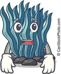 파랑, 두려워하여, 물, 해초, 바다, 억압되어, 만화