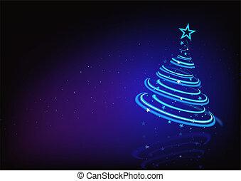 파랑, 떼어내다, 나무, 크리스마스