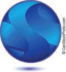 파랑, 로고, 떼어내다, 벡터, 지구